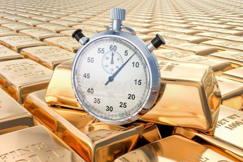 Fond de lingots d'or avec le chronomètre, rendu 3D illustration libre de droits
