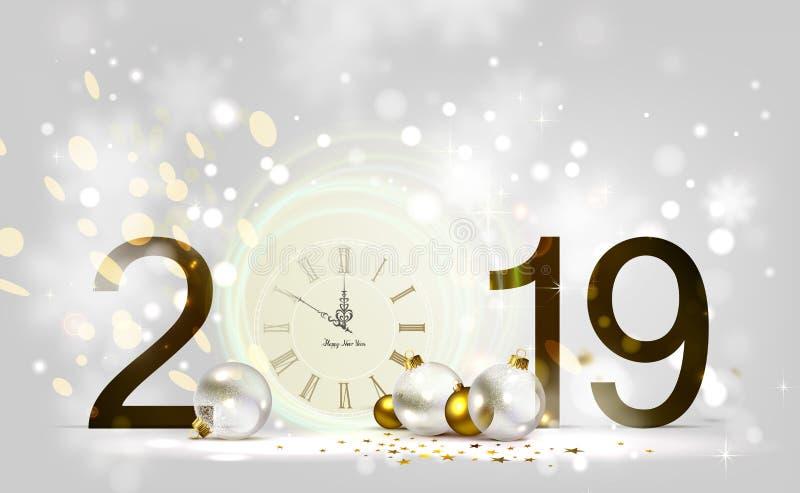 Fond de lumière d'éclat de vacances et babioles de fête Minuit de nouvelle année sur l'horloge 2019 photographie stock