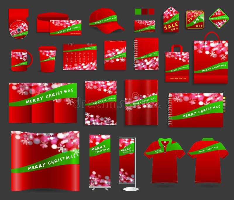 Fond de lumière de Noël avec des calibres d'identité d'entreprise illustration stock