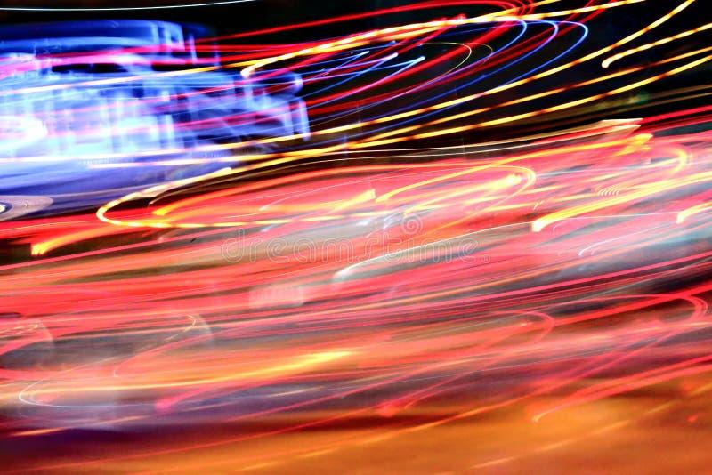 Fond de lumière de nuit de résumé sur le mouvement images stock