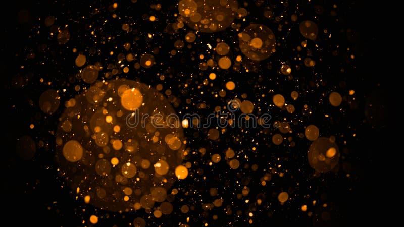 fond de lumières de cru de bokeh de scintillement or foncé et defocused noir Texture de fond de Joyeux Noël et de bonne année image libre de droits