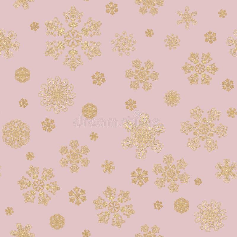 Fond de luxe avec les cristaux d'or de neige Nouvelle… bière heureuse ! illustration libre de droits