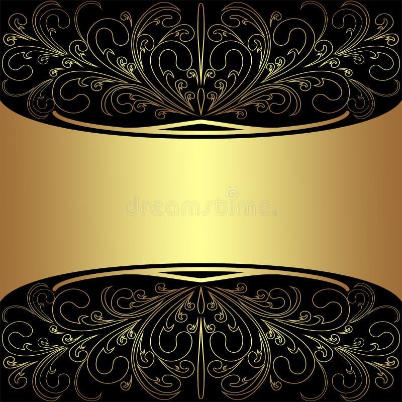 Fond de luxe avec les frontières d'or élégantes et endroit pour le texte - conception d'invitation illustration stock