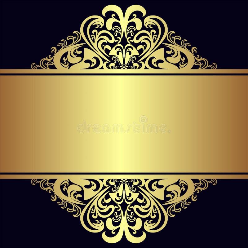 Fond de luxe avec les frontières et le ruban d'or royaux illustration de vecteur