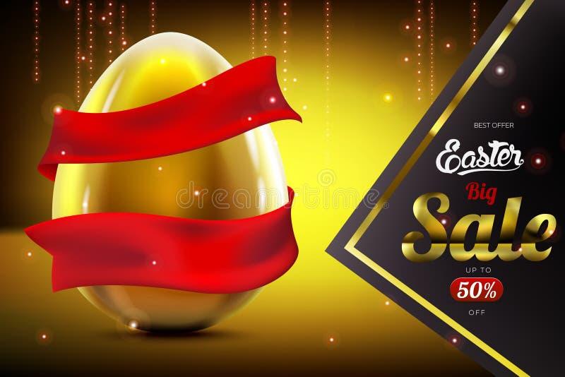 Fond de luxe de bannière de la publicité de vente de Pâques avec l'oeuf d'or et le ruban rouge illustration libre de droits