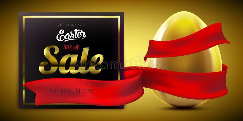 Fond de luxe de bannière de la publicité de vente de Pâques avec l'oeuf d'or et le ruban rouge illustration stock