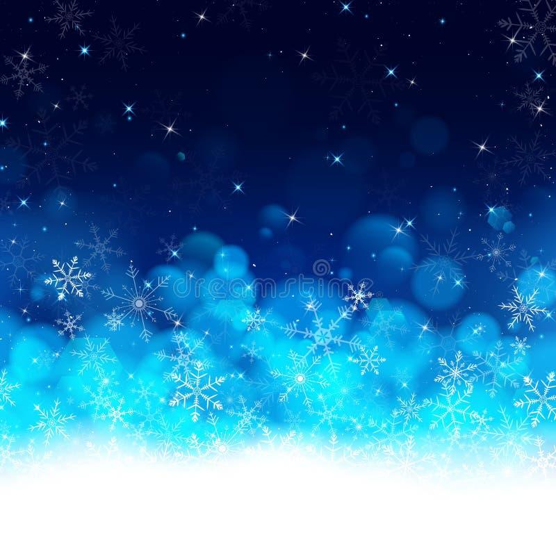 Fond de luxe bleu de carte de Noël de nuit illustration de vecteur
