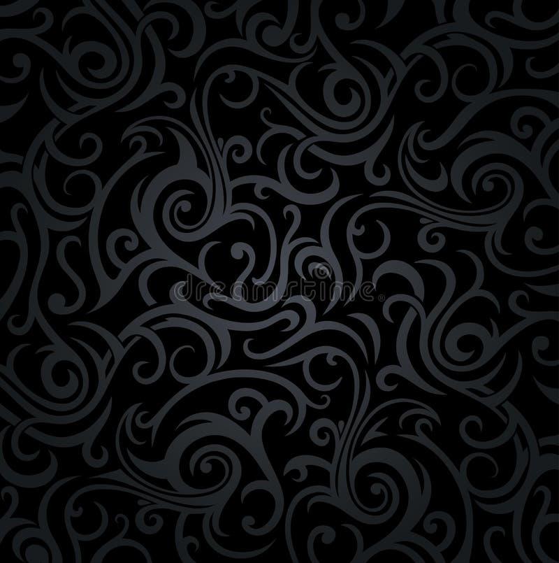 Fond de luxe décoratif floral noir de vintage illustration de vecteur