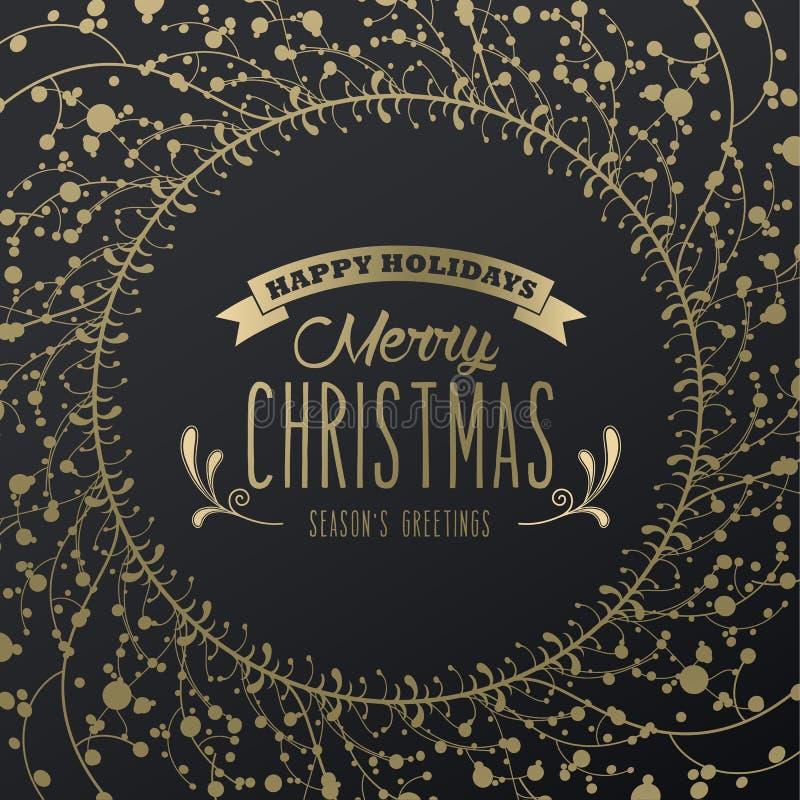 Fond de luxe d'or de Noël avec des flocons de neige et des salutations de la saison simple des textes bonnes fêtes - Joyeux Noël  illustration libre de droits
