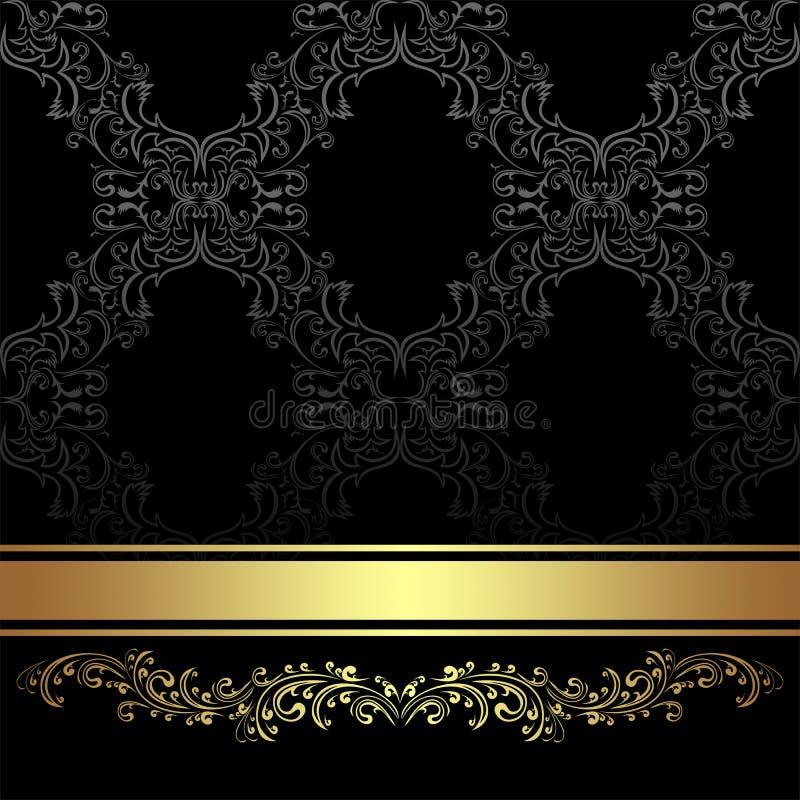 Fond de luxe de charbon de bois avec la frontière et le ruban floraux d'or illustration stock