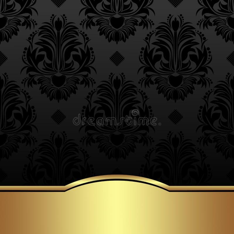 Fond de luxe de damassé de charbon de bois avec la frontière d'or illustration stock