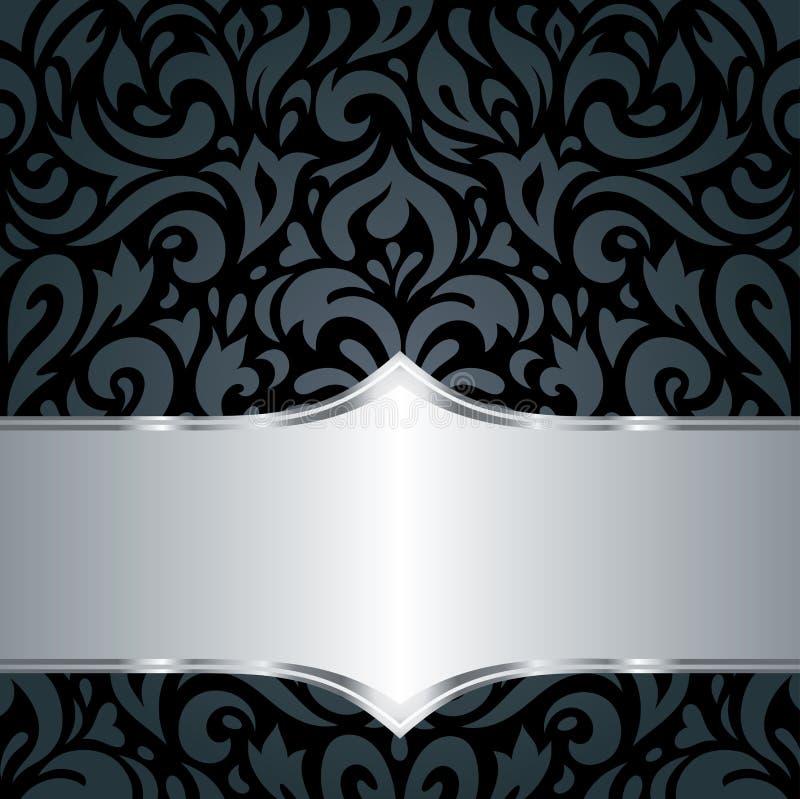 Fond de luxe noir et argenté floral de papier peint de vintage illustration de vecteur