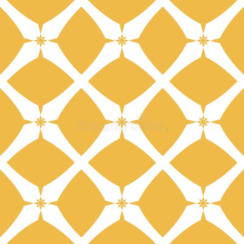 Fond de luxe de vecteur Ornement blanc et jaune simple avec des formes de diamant, chiffres de fleur, étoiles, filet, tuiles de r illustration de vecteur