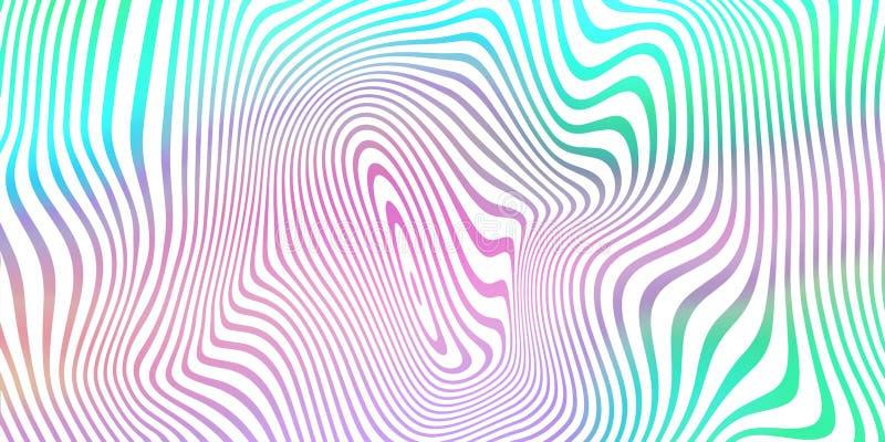 Fond de mélange de couleurs fluides abstrait, motif de rayures iridescentes holographiques Dégradé de couleur du liquide de tenda illustration de vecteur