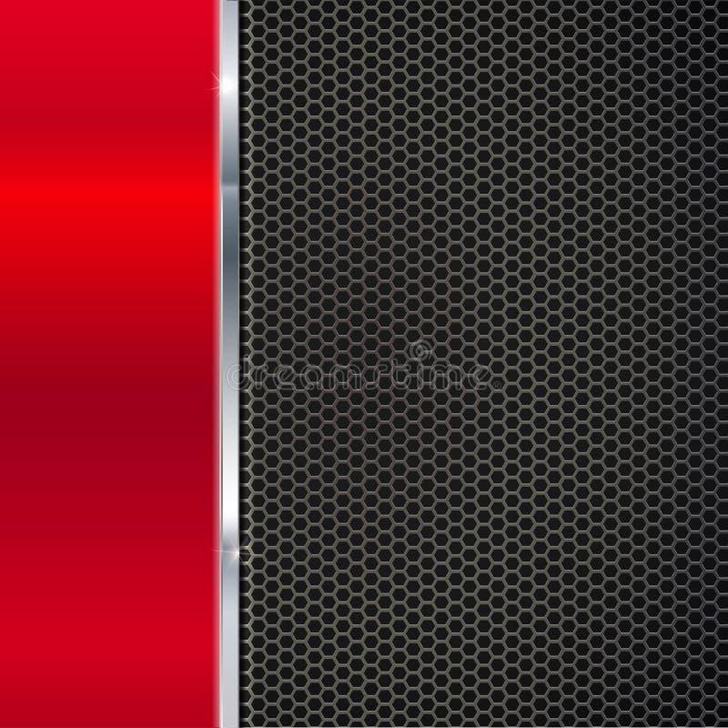 Fond de métal rouge poli et de maille noire avec la bande illustration libre de droits