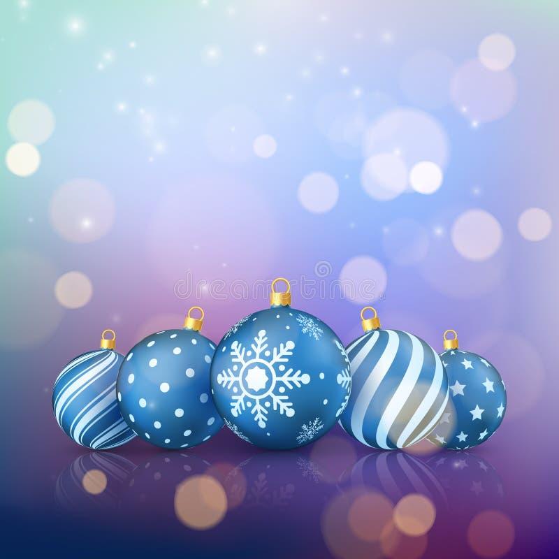 Fond de magie de Noël Boules de Noël sur le fond de couleur avec le bokeh d'or Vecteur illustration stock