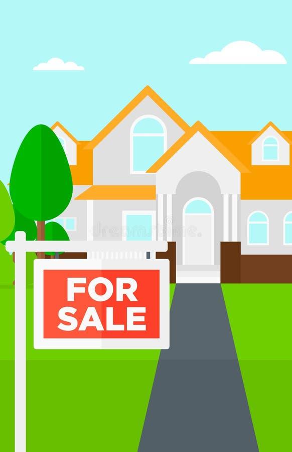 Fond de maison avec pour le signe de vente illustration stock