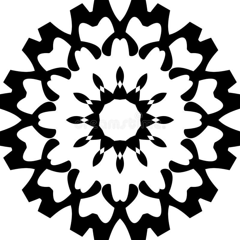 Fond de mandala et conception noirs et blancs de papier peint illustration libre de droits