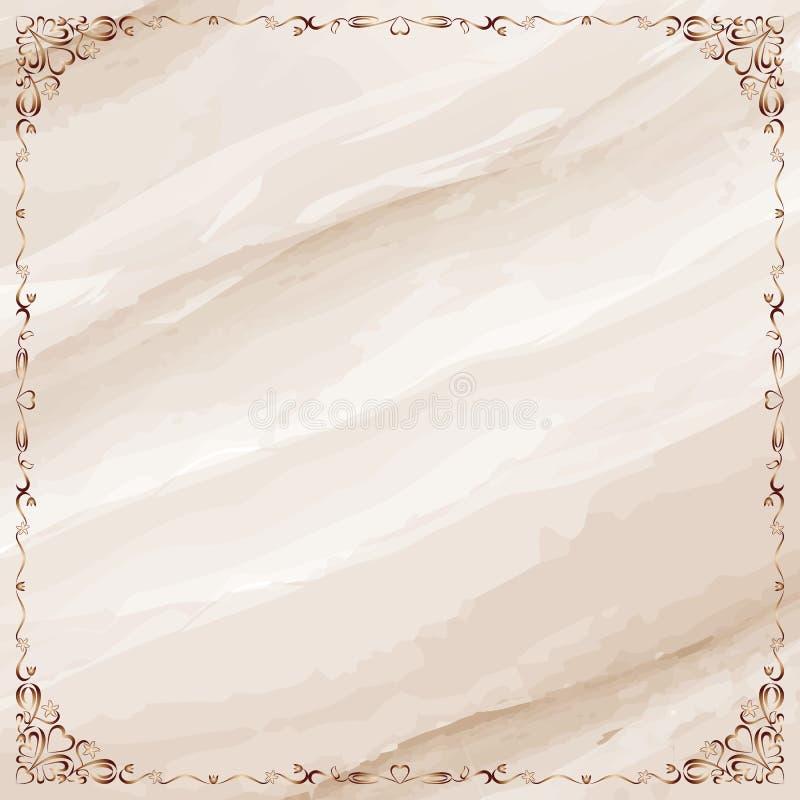 Fond de marbre avec la frontière fleurie de cadre illustration stock