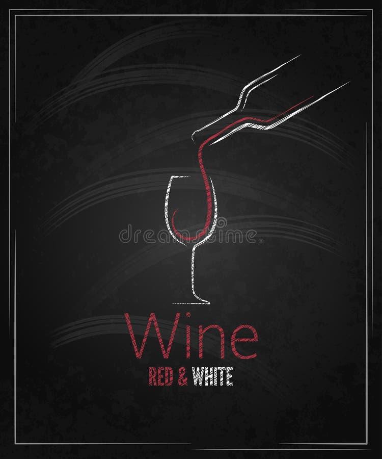 Fond de menu de tableau en verre de vin illustration stock