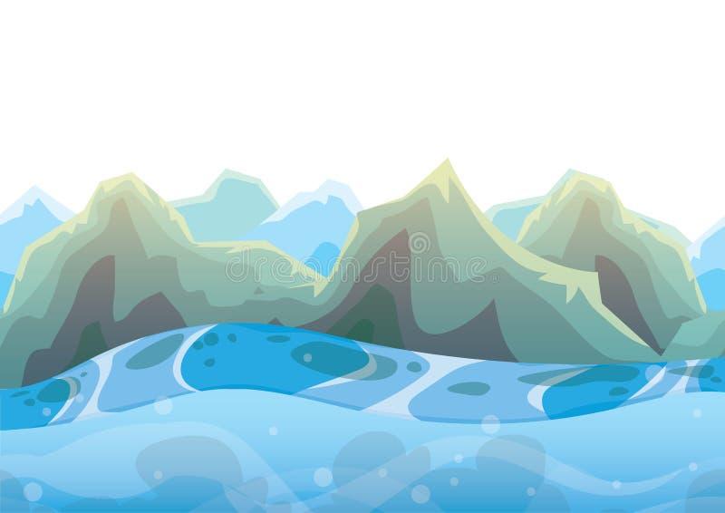 Fond de mer de vecteur de bande dessinée avec des couches séparées pour l'art et l'animation de jeu illustration de vecteur
