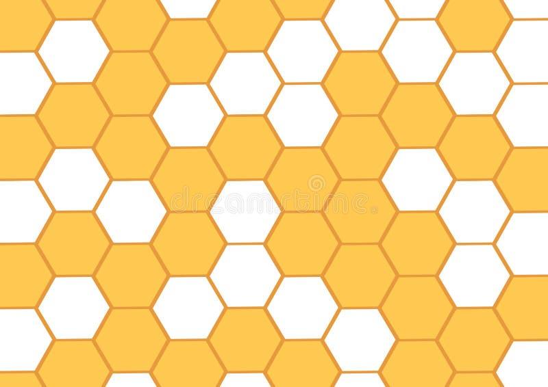 Fond de miel avec les nids d'abeilles jaunes Cellule hexagonale Illustration de vecteur illustration libre de droits