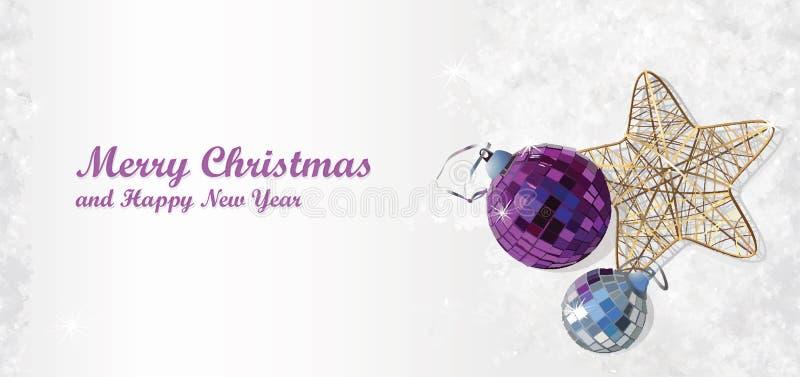 Fond de Milou avec des décorations d'arbre de Noël illustration de vecteur