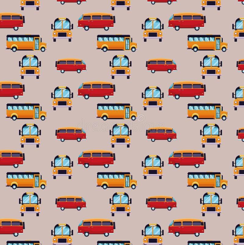 Fond de modèle d'autobus et de van cartoons illustration libre de droits