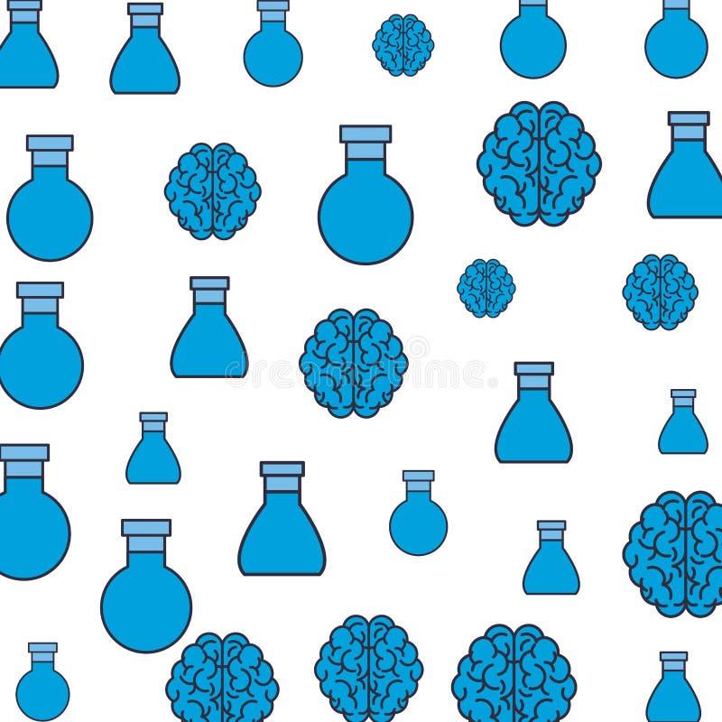 Fond de modèle de flacon et de cerveaux illustration stock