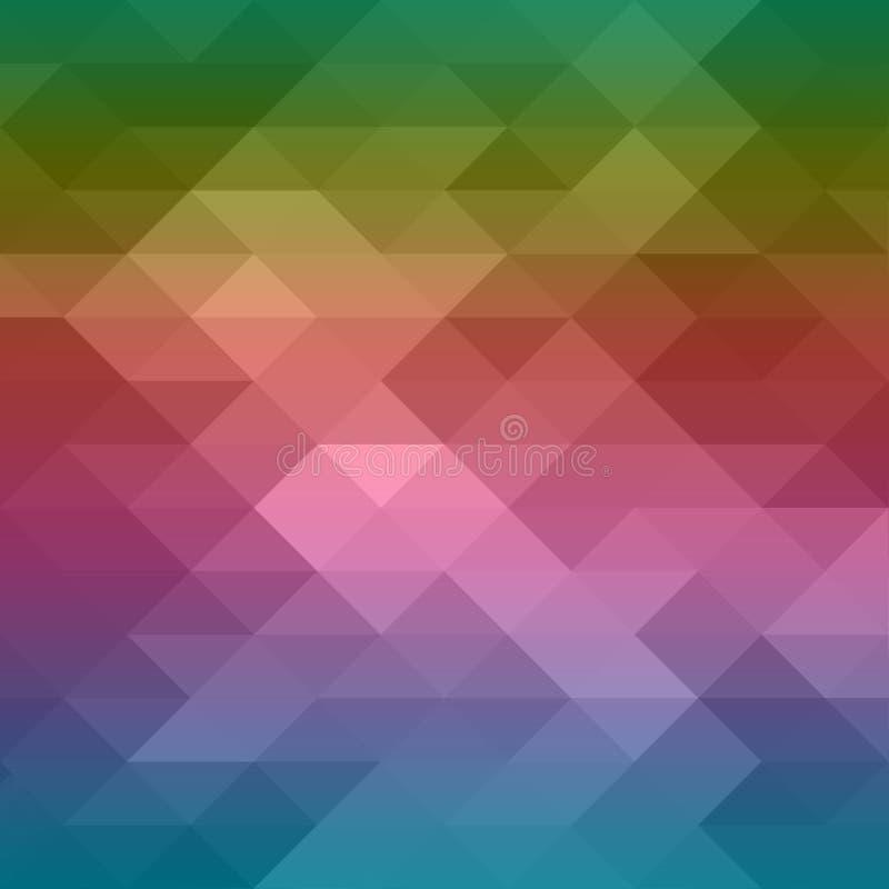 Fond de modèle de triangle bas poly avec la conception abstraite en jaune orange rouge-rose pourpre bleu coloré et couleurs verte illustration de vecteur