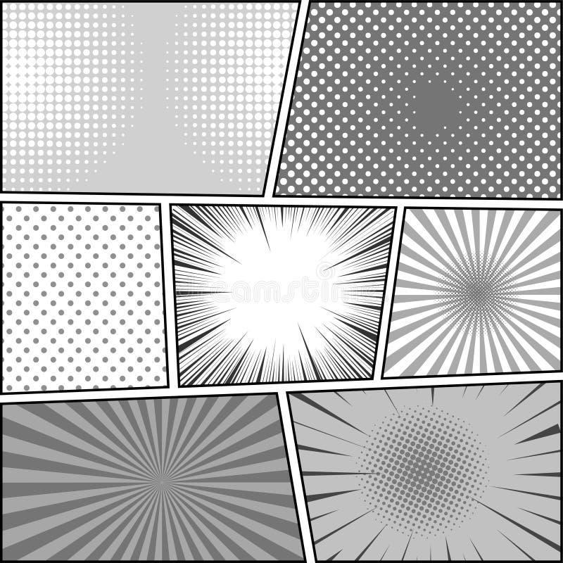 Fond de monochrome de page de bande dessinée illustration stock