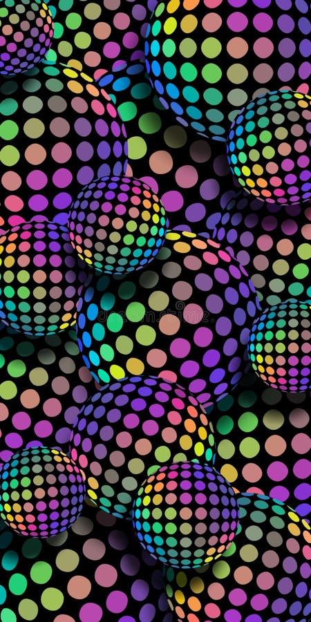 fond de mosaïque d'hologramme d'arc-en-ciel des boules 3d Modèle iridescent vert-bleu jaune lilas de sphères de gradient illustration de vecteur