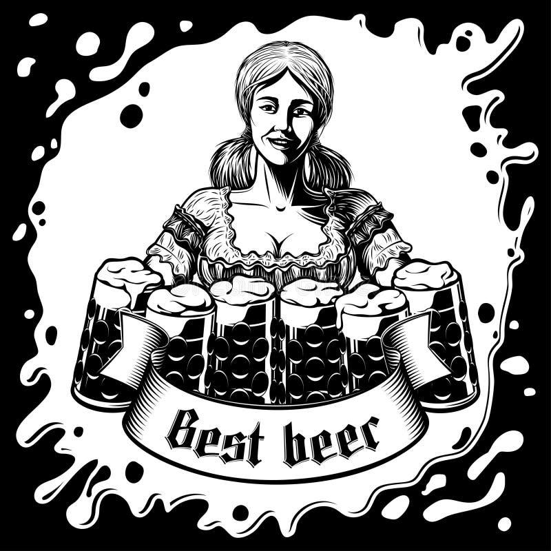 Fond de mousse de baril de Bavarian Beer Glass de serveuse de fille d'Oktoberfest de vecteur illustration libre de droits