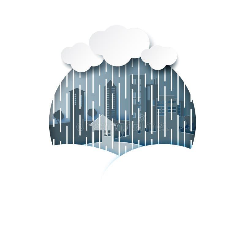 Fond de mousson avec la saison des pluies et le paysage urbain illustration de vecteur