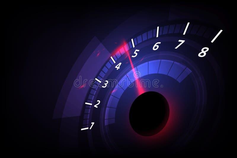 Fond de mouvement de vitesse avec la voiture rapide de tachymètre Emballage du veloci illustration stock