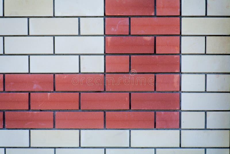 Fond de mur de briques Briques rouges et blanches, beaucoup d'espace de copie photographie stock