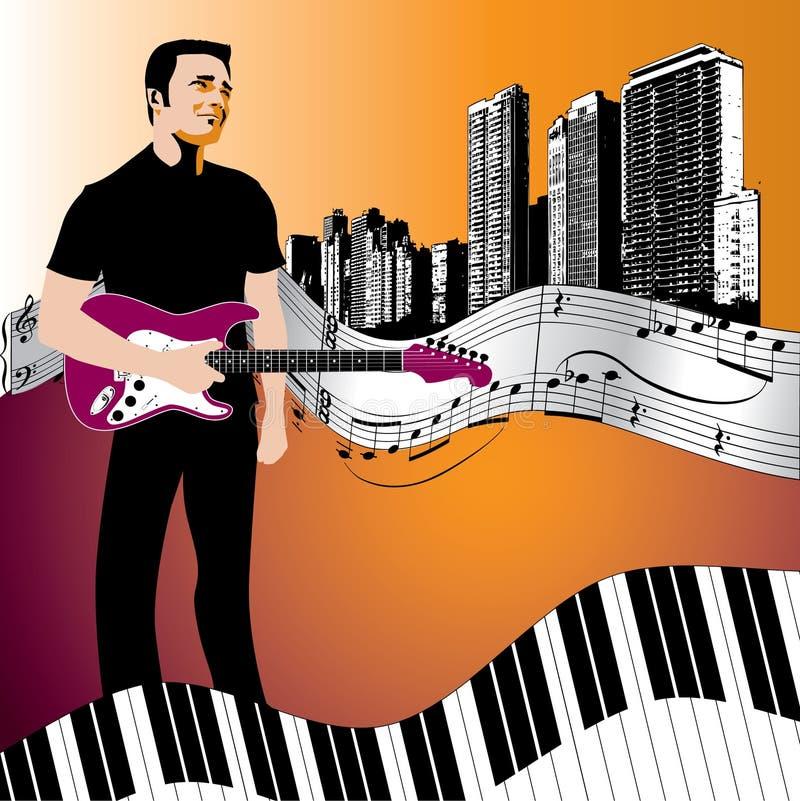Fond de musicien et de guitare illustration de vecteur