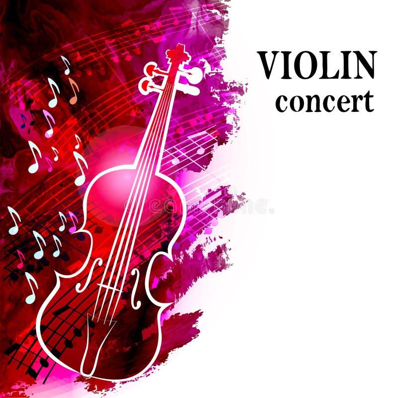 Fond de musique classique avec le violon et les notes musicales illustration de vecteur