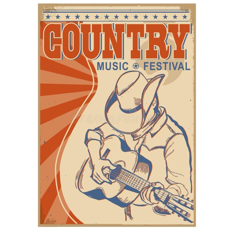 Fond de musique country avec le texte Musicien dans le playi de chapeau de cowboy illustration libre de droits