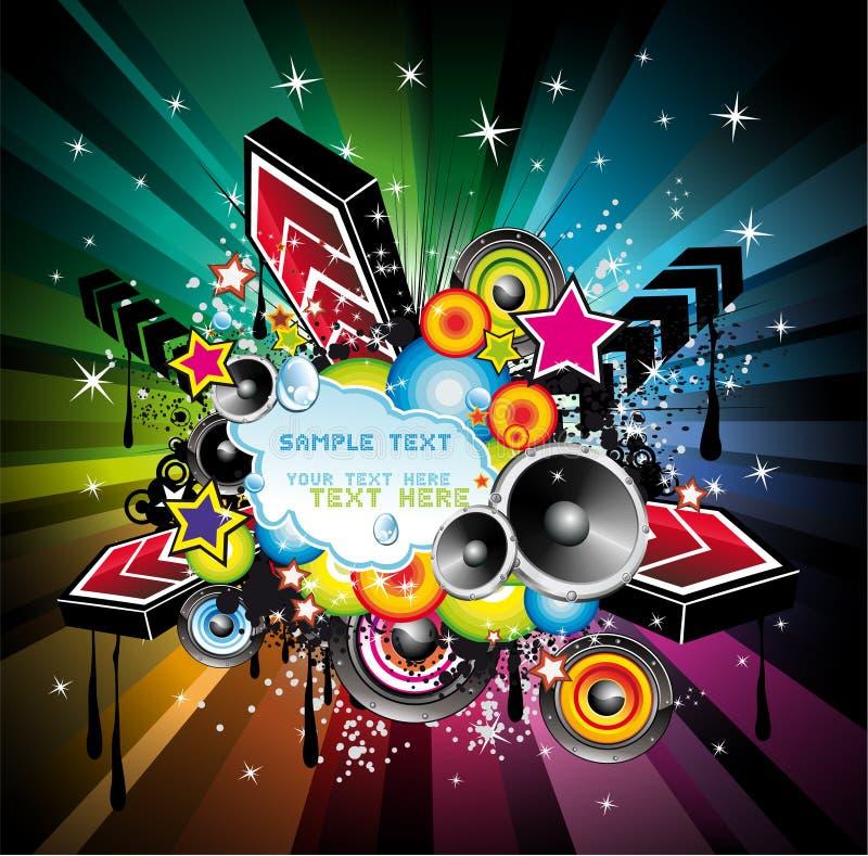 Fond de musique de disco d'arc-en-ciel illustration stock