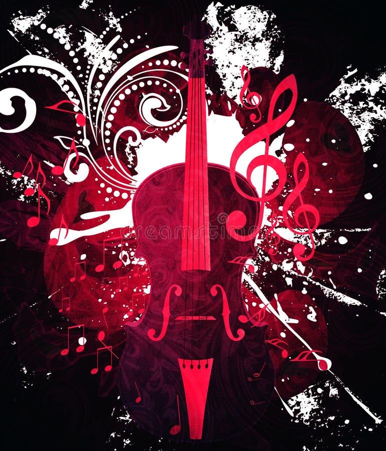 Fond de musique de violon de vintage illustration stock
