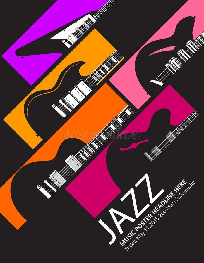 Fond de musique de festival de jazz avec guitares génériques illustration libre de droits