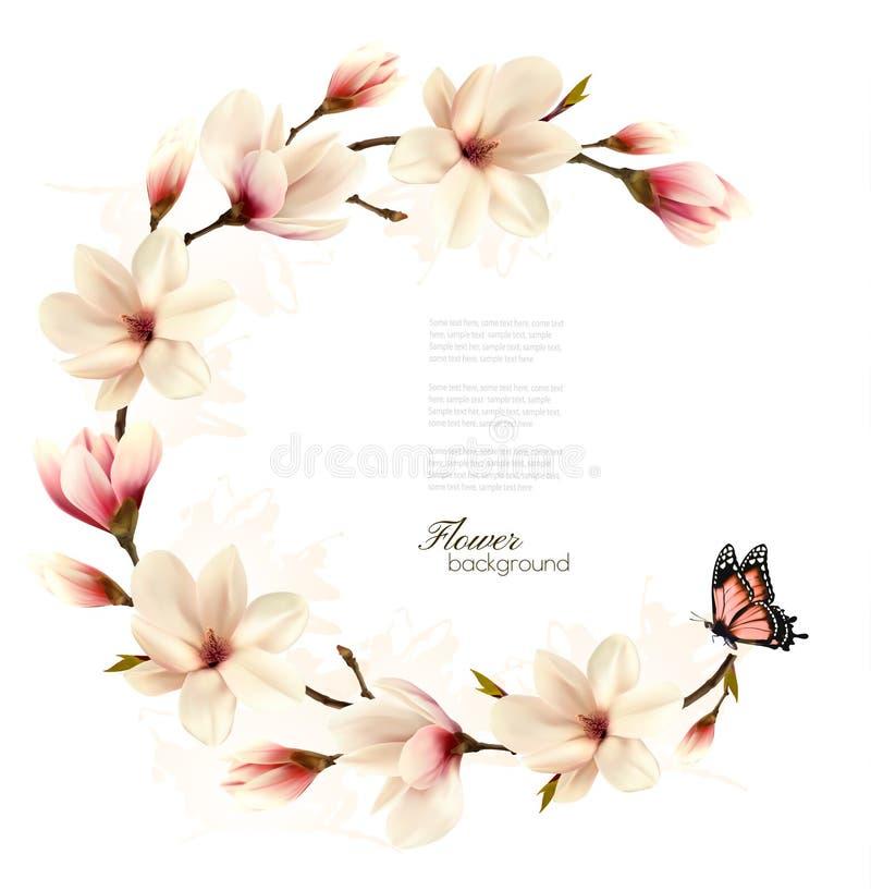 Fond de nature avec la branche de fleur de la magnolia blanche illustration de vecteur