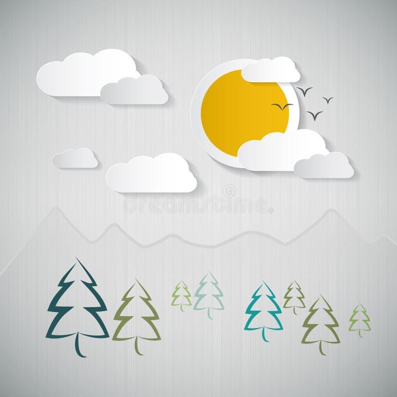 Fond de nature avec le papier Sun, les nuages, les arbres et les montagnes illustration de vecteur