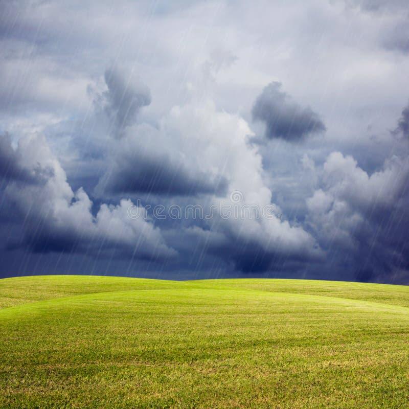 Fond de nature avec le pré vert, le ciel orageux et la pluie photographie stock libre de droits