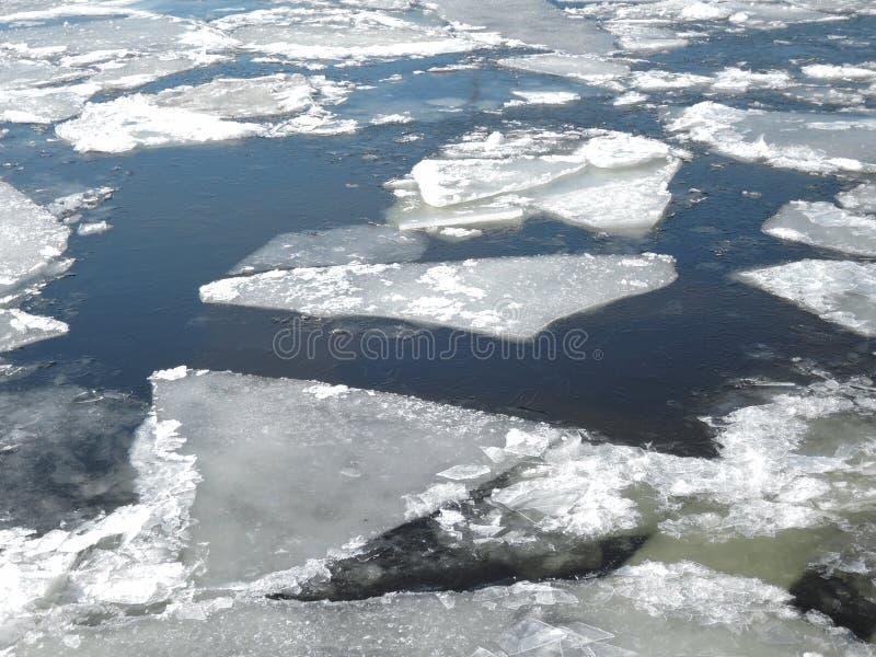 Fond de nature d'hiver avec des blocs de glace sur la mer bleue congelée photo libre de droits