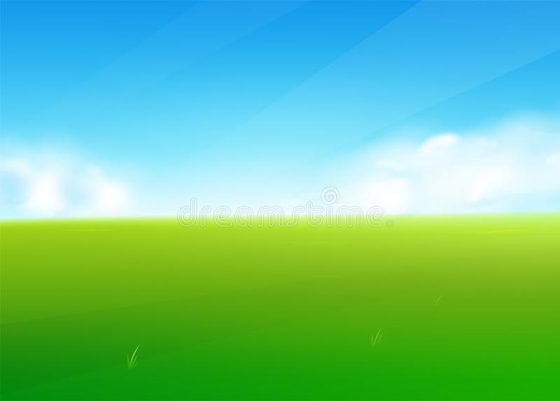 Fond de nature de gisement de ressort avec le paysage d'herbe verte, nuages, ciel illustration de vecteur