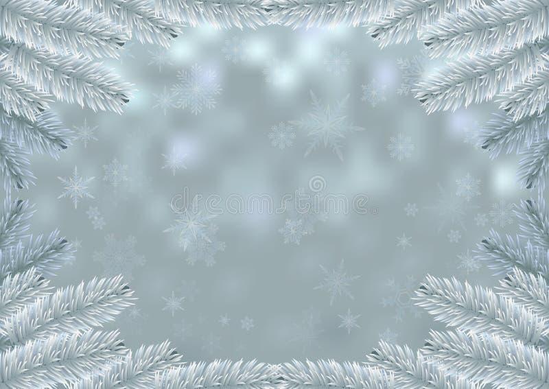 Fond de neige de cadre de sapin blanc de Noël illustration stock