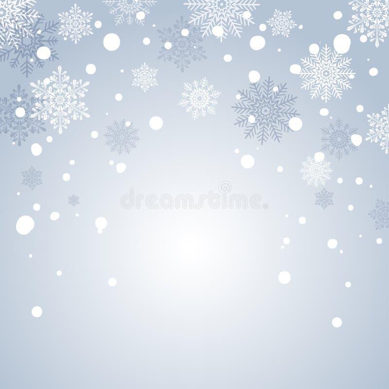 Fond de neige de vacances d'hiver pour la bannière ou la carte de voeux Contexte bleu de Noël Vue avec des flocons de neige illustration libre de droits