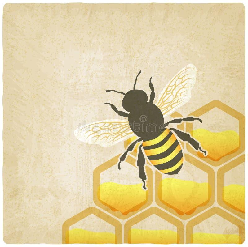 Fond de nid d'abeilles d'abeille vieux illustration stock
